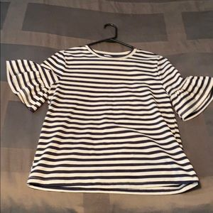NWOT English factory striped flutter sleeve tee